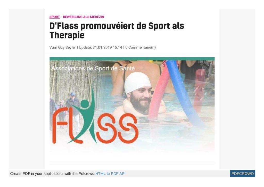 D'Flass promouvéiert de Sport als Therapie